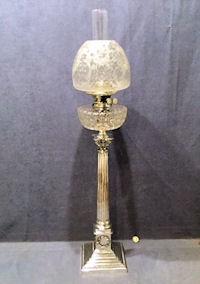 Rare Kerosene Lamp Um 1900 Mouth-blown Cat To Ensure Smooth Transmission Glass